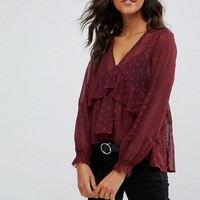 ASOS Swing Blouse with V-neck and Ruffle Detail in Dobby at asos.com