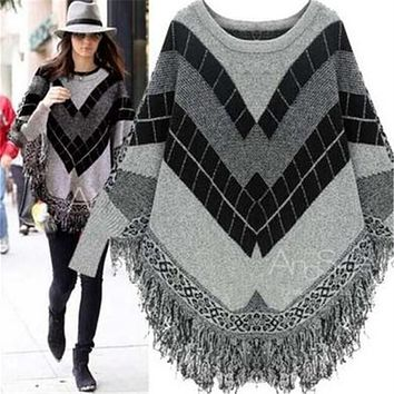 Women's Jacquard Fringed Bat sleeve Sweater Shawl Capes coat pregnancy clothes winter pregnant women's coat 314