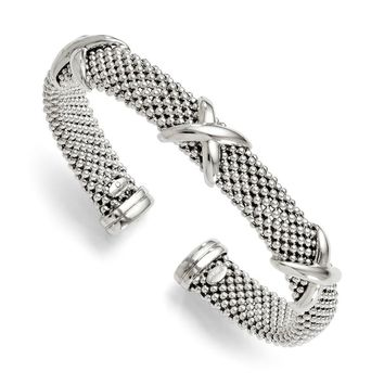 Sterling Silver 11mm X Design Flexible Mesh Cuff Bracelet
