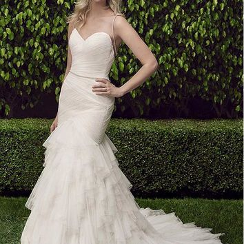 [179.99] Stunning Tulle Sweetheart Neckline Mermaid Wedding Dresses With Rhinestone Chain - dressilyme.com