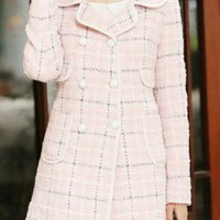 Urban Splendor Double Breasted Cloverleaf Lapel Plaid Coat in Pink | Sincerely Sweet Boutique