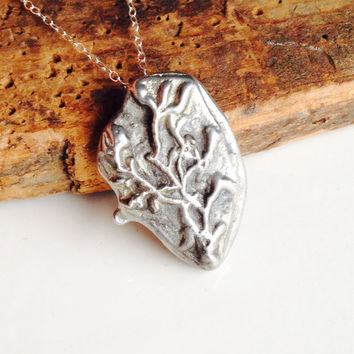 Pewter Necklace, Sand Cast Necklace, Tree Necklace, Crooked Tree, Spooky Tree, Bare Tree, Sterling Chain, Etsy, Etsy Jewelry