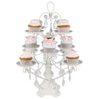 12-Piece Vintage Crystal-Draped Cupcake Stand (White)