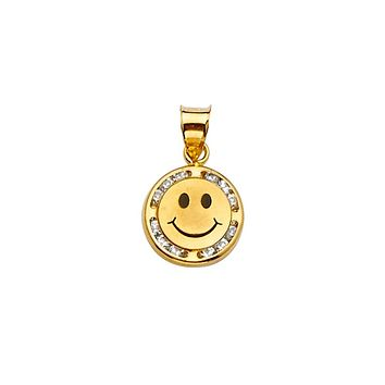 Smiley Face CZ Pendant - 14K Solid Yellow Gold