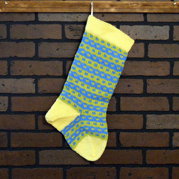 Striped Christmas Stocking, Hand Knit in Yellow, Blue and Green, Housewarming Gift, Wedding Gift, Baby Shower Gift, Colorful Stocking