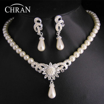 Rhodium Austrian Crytal Necklace Bridal Party Gift  Imitation Pearl Indian Wedding Jewelry Sets For Women