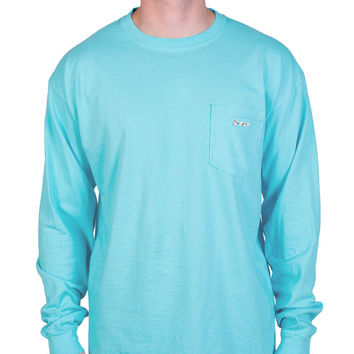 Longshanks Sewn Patch Long Sleeve Pocket Tee Shirt in Lagoon Blue by Country Club Prep