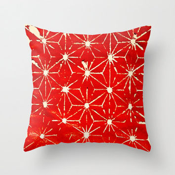Red Pillow Cover - throw pillow home decor hipster pattern stencil painted handmade artsy art deco 16x16