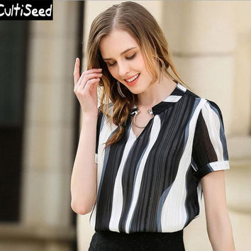 Striped Chiffon Shirts Blouses Tops 2017 Female Summer V-neck Metal Elegant Office Work Shirts Women Puff Sleeve Tops Clothes