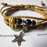 Men or Women Soft Leather Bracelet with Bead by braceletcool