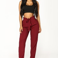 Classic Paper Bag Waist Pants - Burgundy