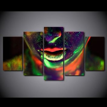 Abstract Womans Face Woman Face Color Wall Art Canvas 5 Piece Panel Print