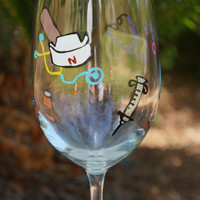 Nurse, LPN, CNA or Doctor Custom Wine Glass -  Hand Painted Wine Glass