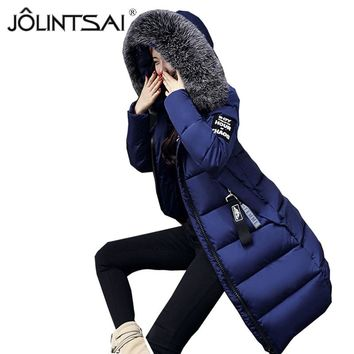 JOLINTSAI 2017 Winter Jacket Women Parka New Fur Collar Cotton Padded Coats Women Parkas Long Slim Thickened Warm Overcoat