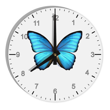 "Morpho Butterfly 8"" Round Wall Clock with Numbers"