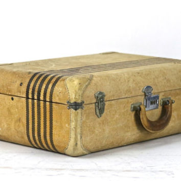 Suitcase, Vintage Suitcase, Tweed Striped Suitcase, Old Suitcase, Luggage, Old Luggage