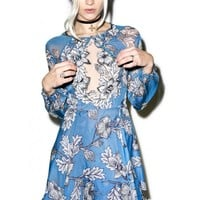 For Love & Lemons Vintage Blue Sierra Mini Dress | Dolls Kill