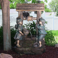 Children at the Well Outdoor Water Fountain with LED Light by Sunnydaz