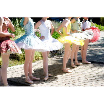 Ballet Line, 8x12 Fine Art Photograph, Ballet Print, Dancer Photo, Tutus Photo, Blue, Yellow, Red, White, Girls in Line Photo, Wall Decor