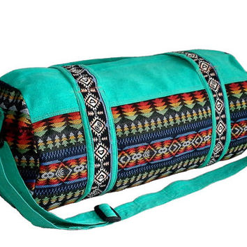 Southwestern Weekender bag, Duffle Bag for Men Women, Native American Travel Bag, Short trip, Hippie Sport Gym bag, Navajo Print, Teal color