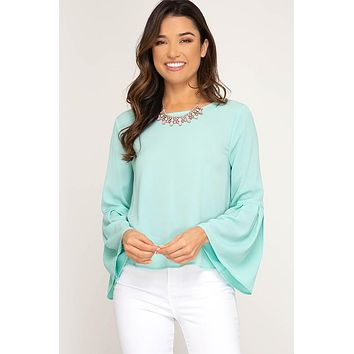 Pleated Bell Sleeve Top - Mint