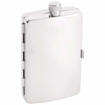 2.5oz Stainless Steel Flask with Cigarette Holder