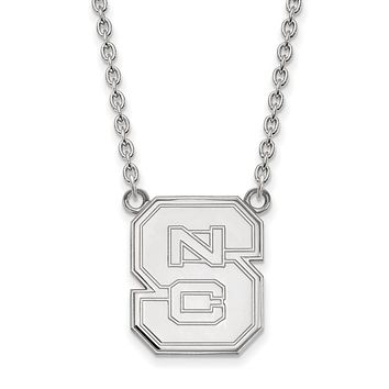 NCAA Sterling Silver North Carolina Large 'NCS' Pendant Necklace