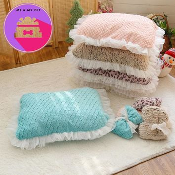 New Pet Cat Dog Bed Mat 5 Colors Lace Kennel Cute Cat Little Pet Nest Pad Top Quality For Promotion DOGGYZSTYLE