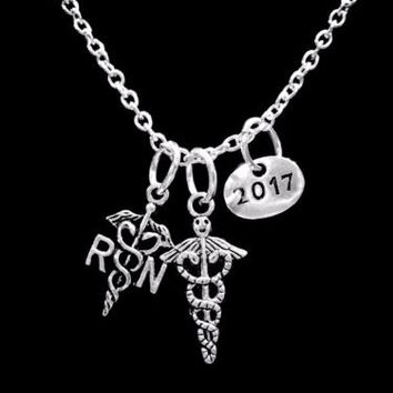RN Caduceus Cross Nurse Class Of 2017 Medical Graduation Gift Necklace