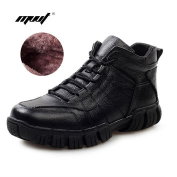 Hot Super Warm Russian Winter men Boots Genuine Leather Men snow boots  Fur Men Ankle Boots Waterproof Winter Outdoor Footwear