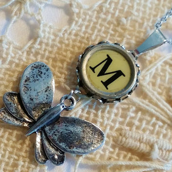 Art Deco M Necklace, M Typewriter Key, Butterfly Necklace, Stainless Steel Chain, 20 Inch Necklace, Antique Letter M Typewriter Key Necklace
