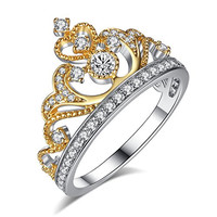 Yellow & White Gold Plated 925 Sterling Silver Princess Crown Ring - Ring Gift