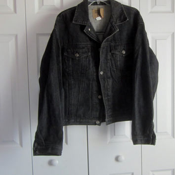 Black Denim Jacket, Black Jean Jacket, Vintage Gap Jean Jacket Mens Size Large, 90s Grunge Denim, Hipster Gap Black Trucker Jacket