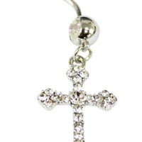 Cubic Zirconia Gemstone Large Cross Belly Ring - Navel Ring