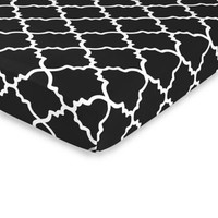 Sweet Jojo Designs Trellis Print Fitted Crib Sheet in Red and White