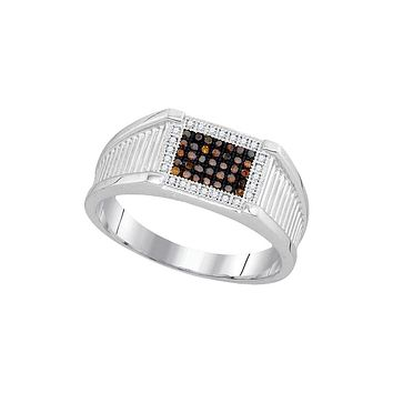 10kt White Gold Mens Round Black Colored Diamond Rectangle Frame Cluster Ring 1/5 Cttw