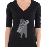 Bear Hugging California | Cool T Shirt Designs | Football V-neck Tee