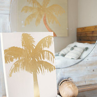 "Canvas Art: Gold Foil Palm Tree Version B (11""x14"")"