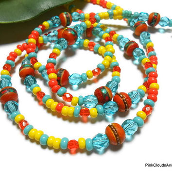 Beaded Lanyard Id Necklace Jewelry Bright Bold Colors Handmade Jewelry with Angel and Strong Breakaway Bones Beads Czech Glass