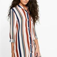 Tanya Striped Collarless Oversized Shirt