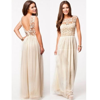 Women's Elegant Backless Bridesmaids Dresses Hollow Out Lace Long Maxi Evening Dress = 1945967172