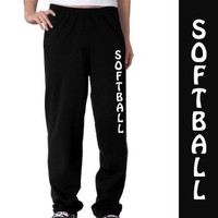 Softball Fleece Sweatpants Youth Small on Black