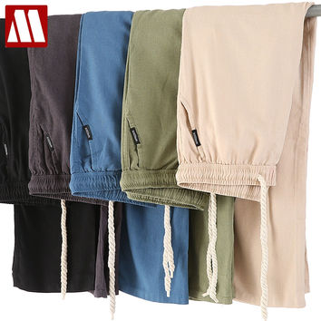 New Men Cotton Linen Casual Pants Men's Solid Thin Breathable Joggers Sweatpants Straight Trousers
