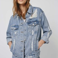 MOTO Rip Oversized Denim Jacket - Topshop