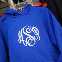 Monogrammed Royal Blue Hooded Hoodie Sweatshirt Font shown  MASTER CIRCLE in white
