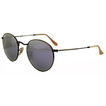 Ray-Ban Sunglasses Round Metal 3447 167/4K Bronze Copper Lilac Mirror Medium