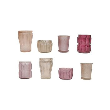 """Set of 8 Blush and Plum Glass Tealight Candle Holders - 3-5"""" Tall"""