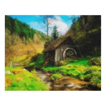 Retro Old Mill In Mountain Valley On Small River Panel Wall Art
