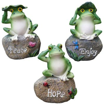 Frog Garden Statues – 3 Pack Lanker 5 Inch Frogs Sitting on Stone Sculptures Outdoor Decor Fairy Garden Ornaments