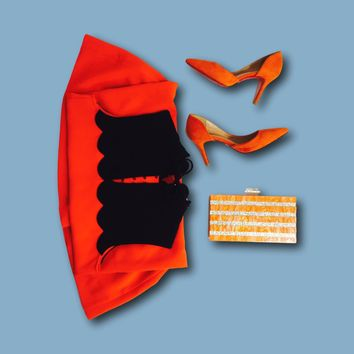 Orange Stripe Acrylic Box Clutch